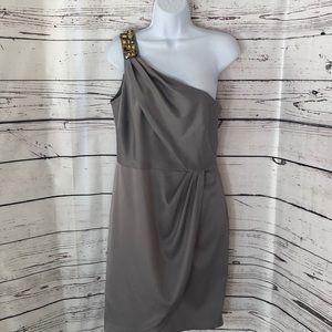 Jones Wear silver gold stone one shoulder dress